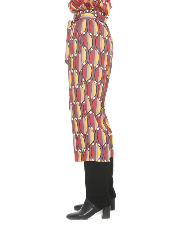 Crop trousers geometric pattern