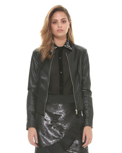 Eco-friendly leather jacket with fabric bands
