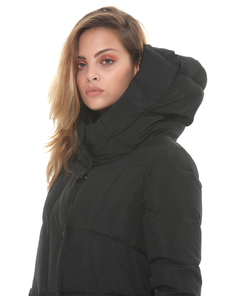 Long quilted down jacket