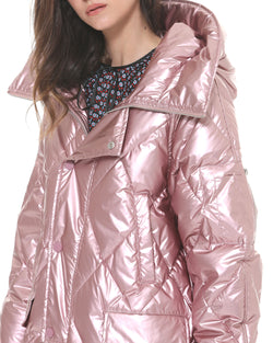 Long Down Jacket with Metallic Effect