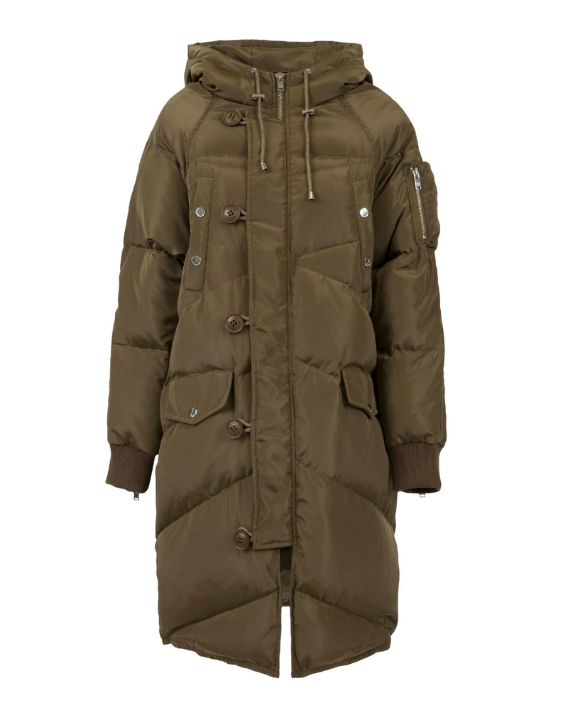 Military long down jacket