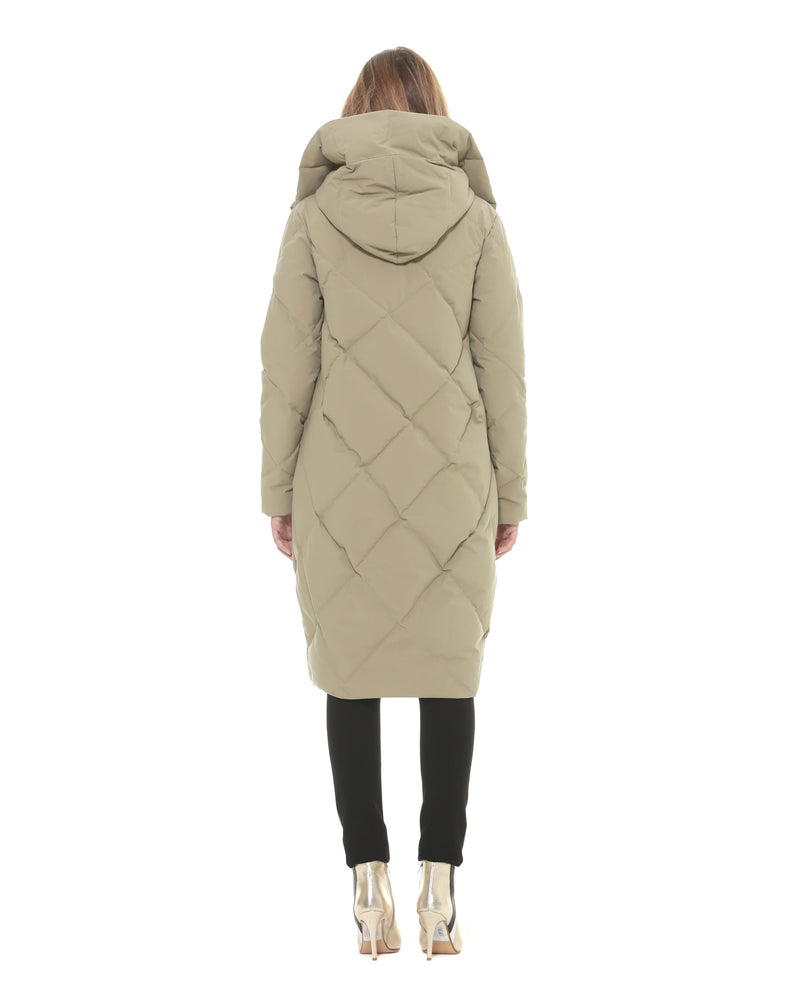 Long down jacket with side pockets