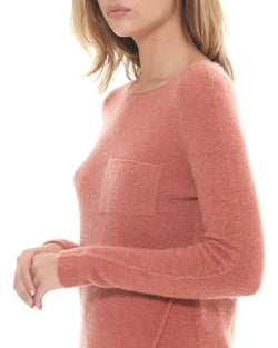 Wool blend sweater wide neckline