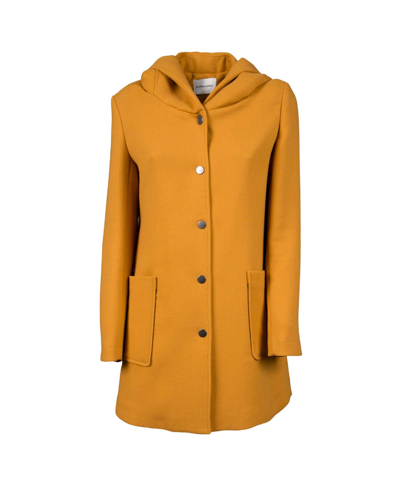 Coat with hood and pressure buttons
