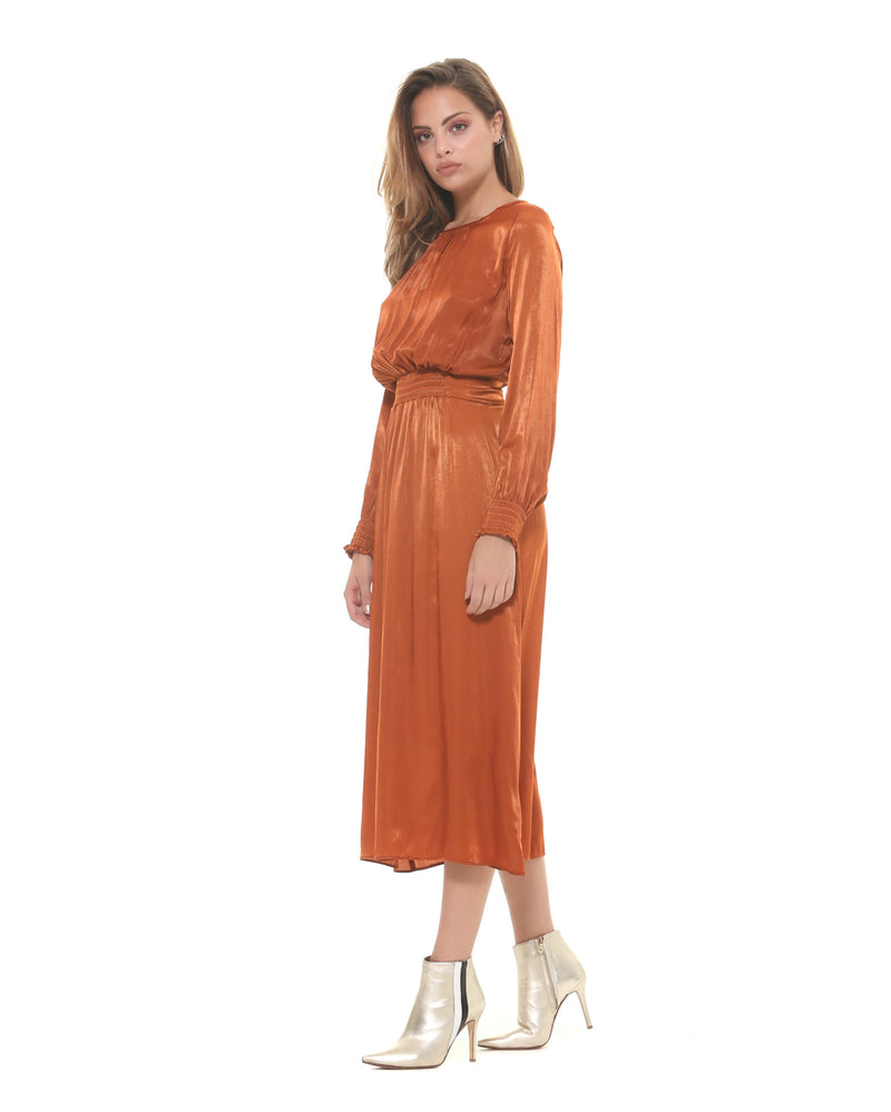 Midi satin dress with elastic waistband