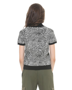 Zebra Sweater with Short Sleeves