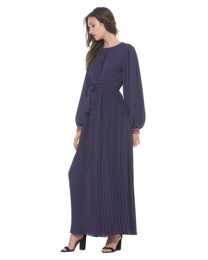 Long pleated shirt-dress