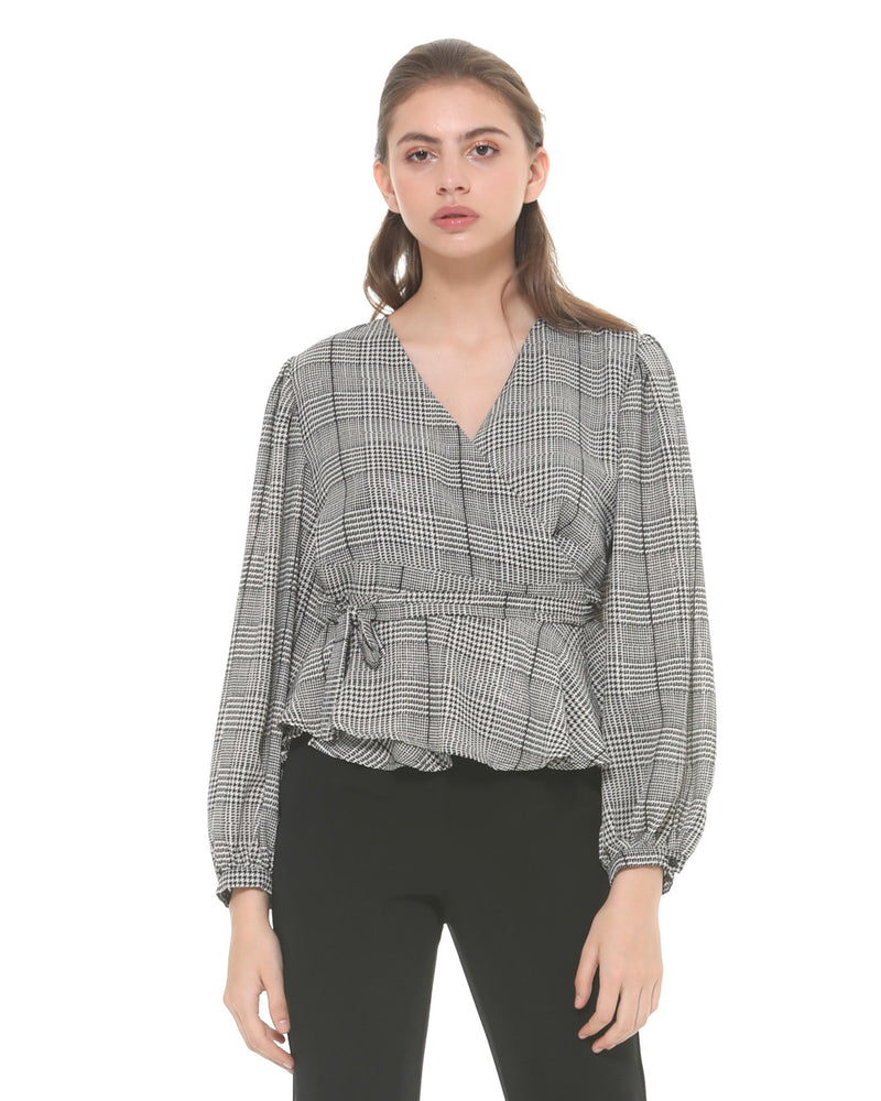 Checked wrap blouse