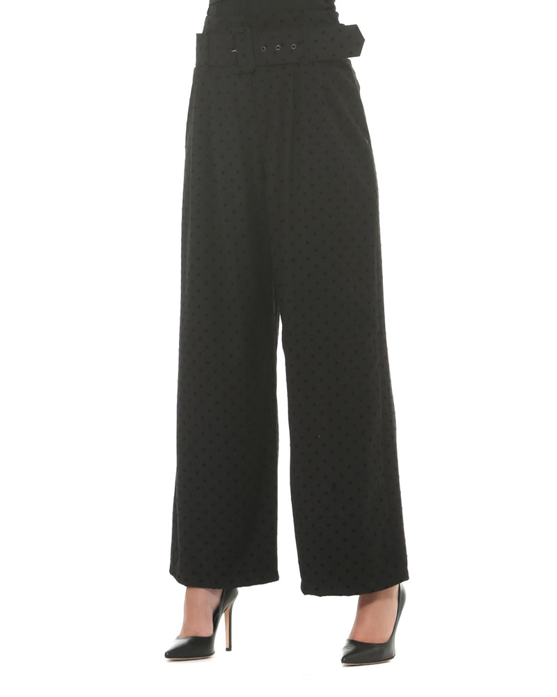 Palazzo trousers with velvet polka dots