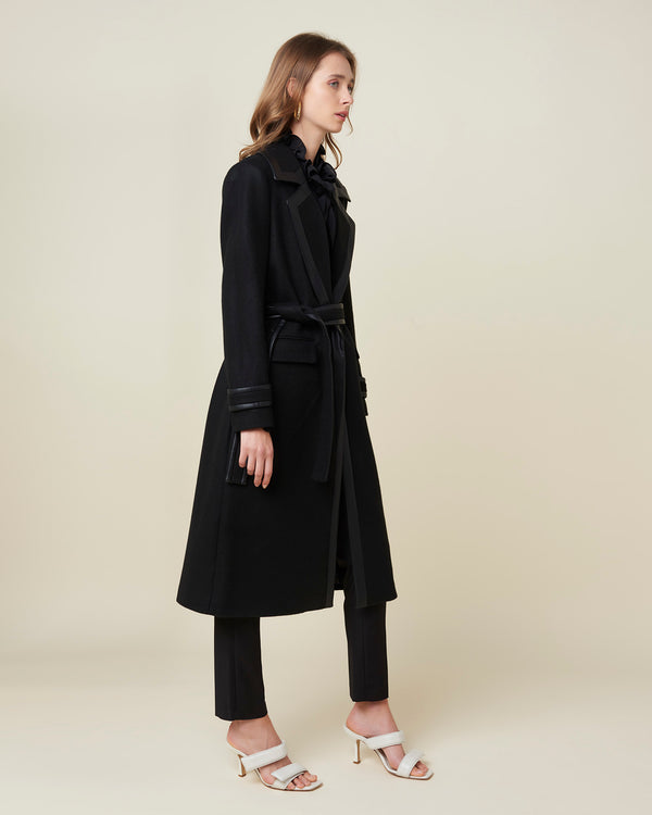 Coat with eco-friendly leather outlines