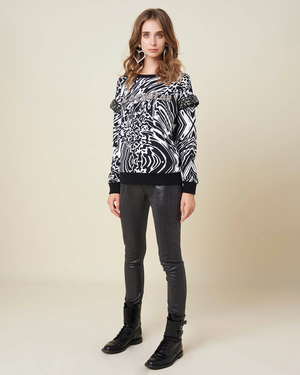 Marbled sweatshirt with rhinestones