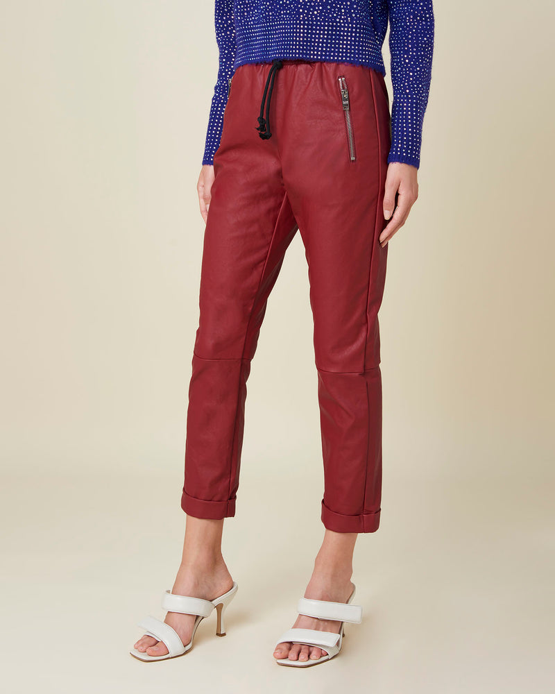 Cropped leatherette trousers