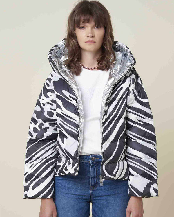 Marbled short down-jacket