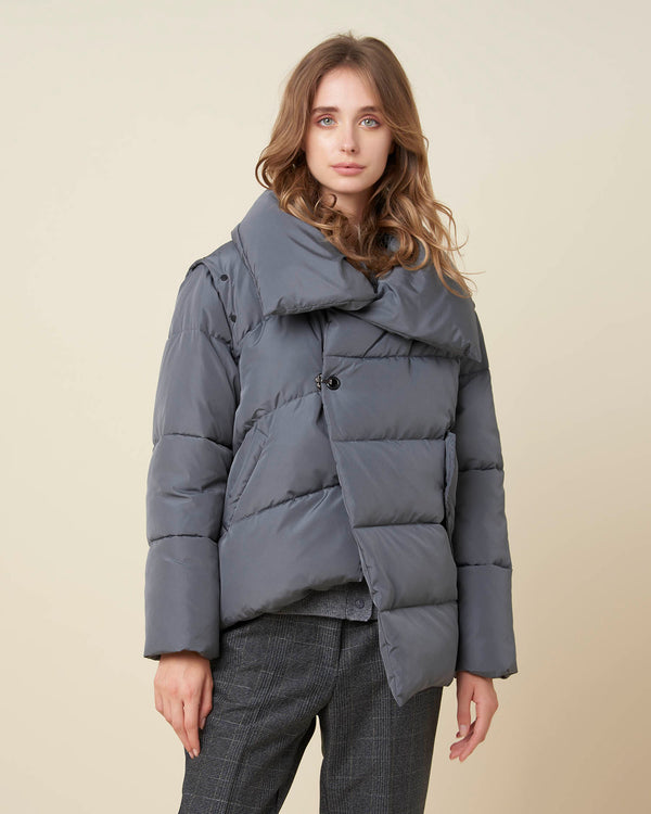 Wide collar asymmetric down-jacket