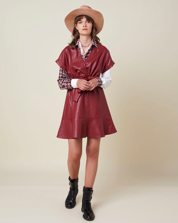 Short eco-friendly leather dress