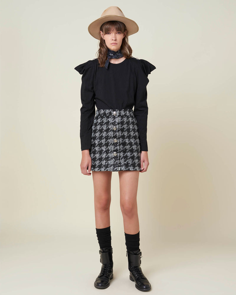 Houndstooth miniskirt with buttons