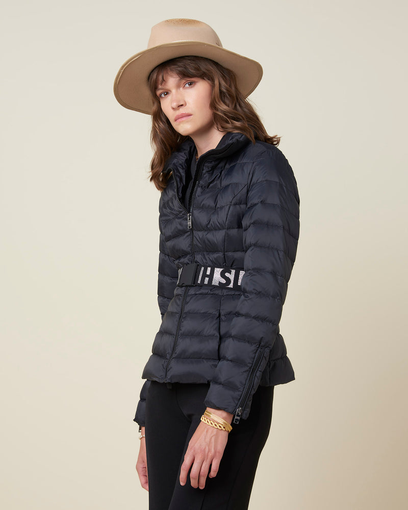 Short down-jacket with waistbelt