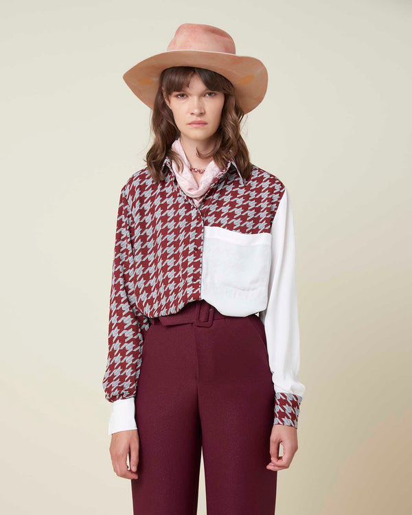 Long shirt with houndstooth details