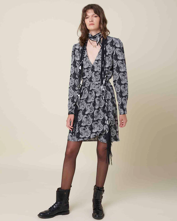 Animal pattern short dress with V neck