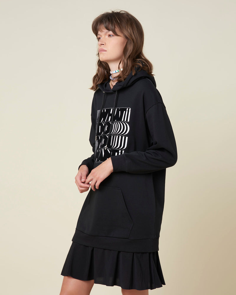 Sweatshirt-dress with hood