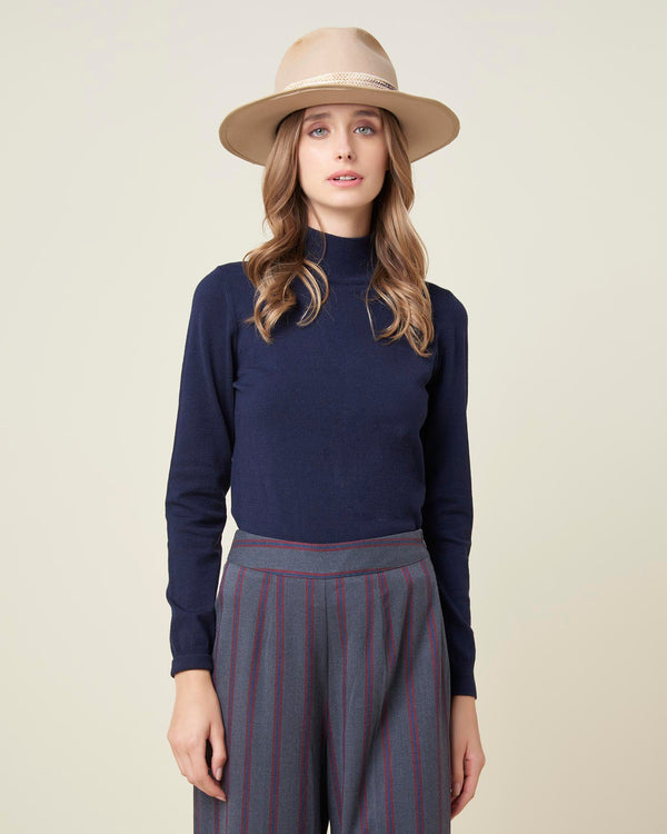 High collar basic sweater