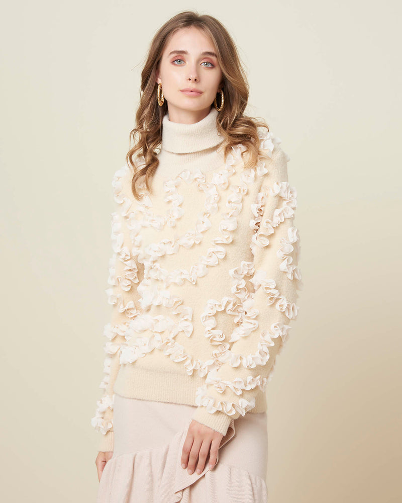 Sweater with veiled details