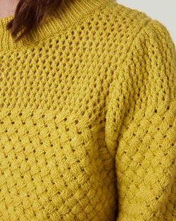 Puff sleeves sweater honeycomb texture