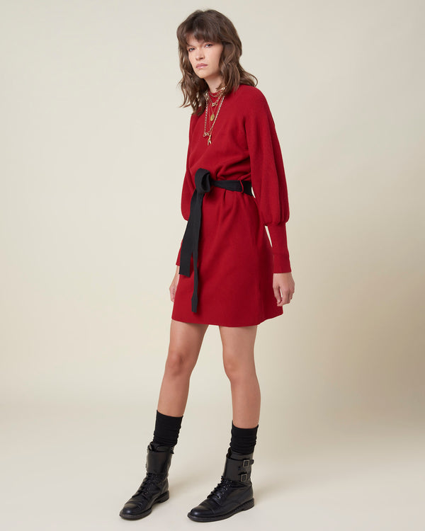 Puffed sleeves wool dress
