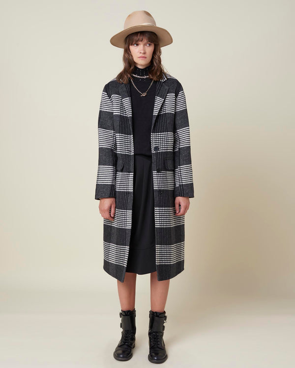 Checked oversize coat