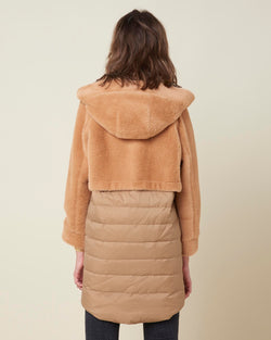 Double texture long down-jacket