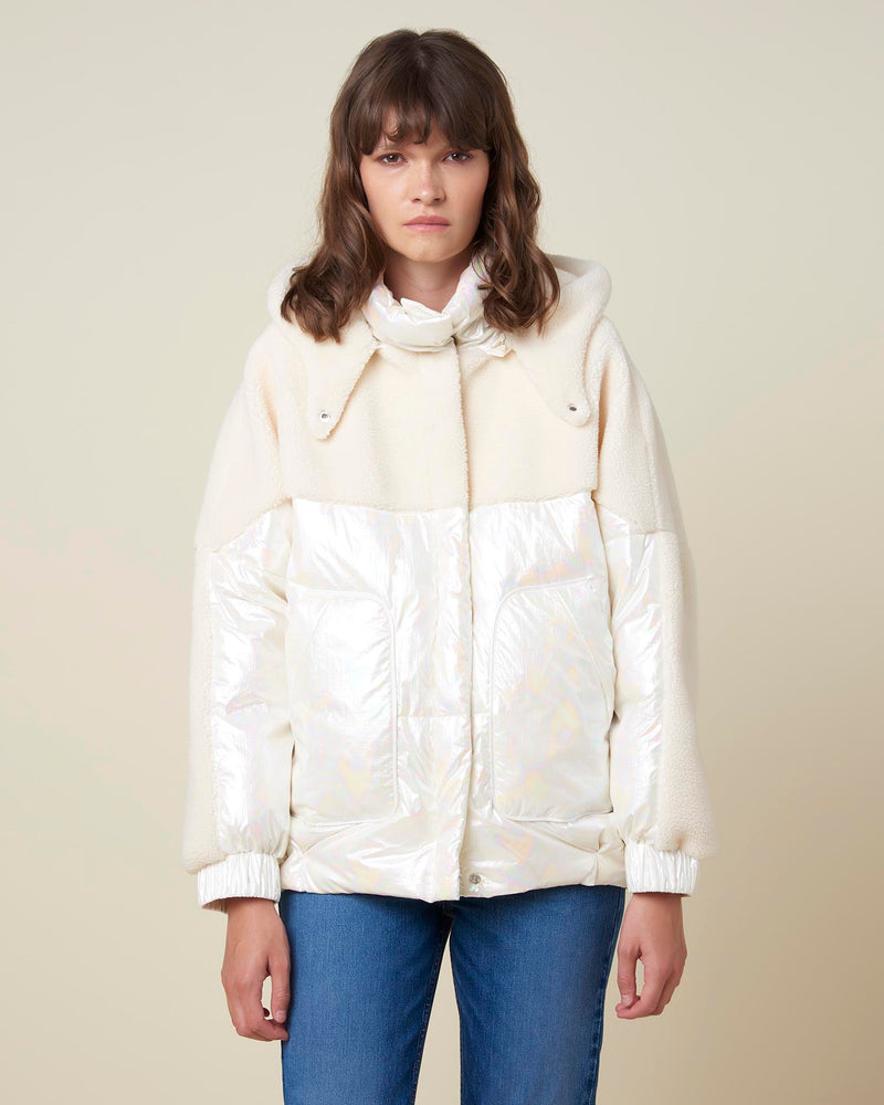 Double texture short down-jacket