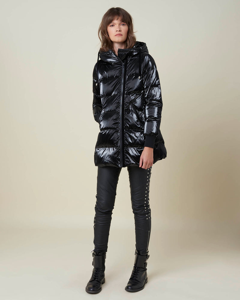 Hoodied long down-jacket