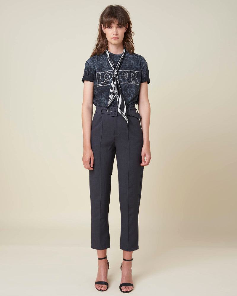 Hign waist trousers with belt