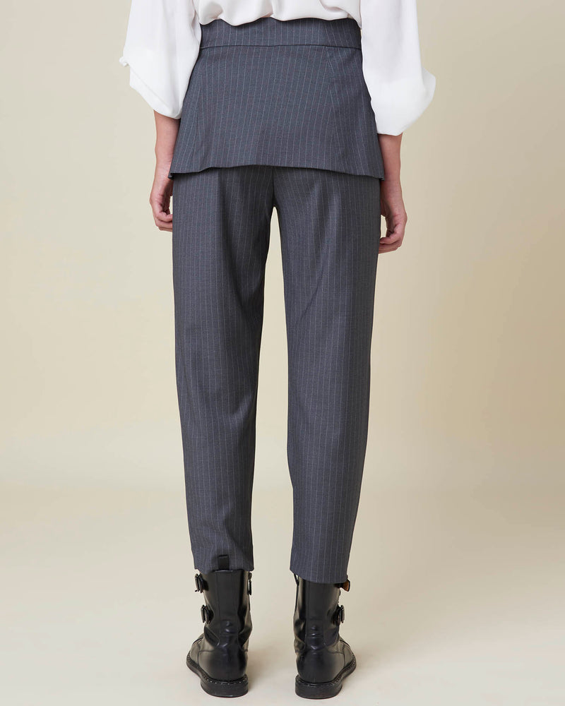 Pinstripe trousers with removable detail