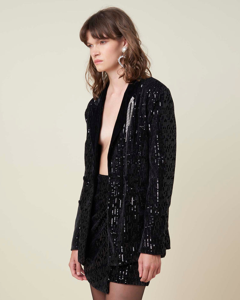 Blazer with sequins and velvet rever
