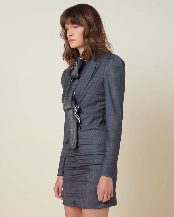Dress with V neck and pinstripe pattern