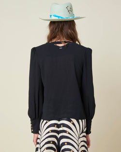 Cropped blouse with cut-out back