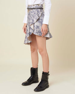 Asymmetrical skirt with animal pattern