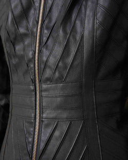 Leatherette jacket with korean collar