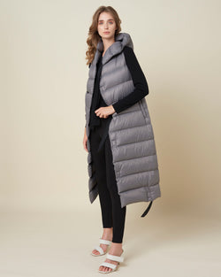Long unsleeved down-jacket