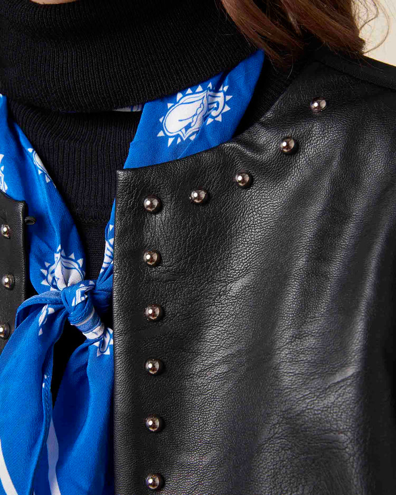 Eco-friendly leather jacket with studs