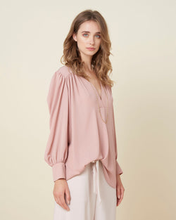 Classic blouse with V neck