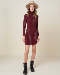 Knitted dress with all over studs