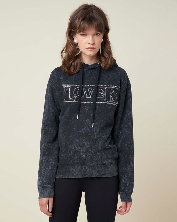 Hoodie with contrasting letters