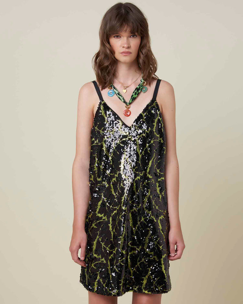 Dress with sequins with python pattern