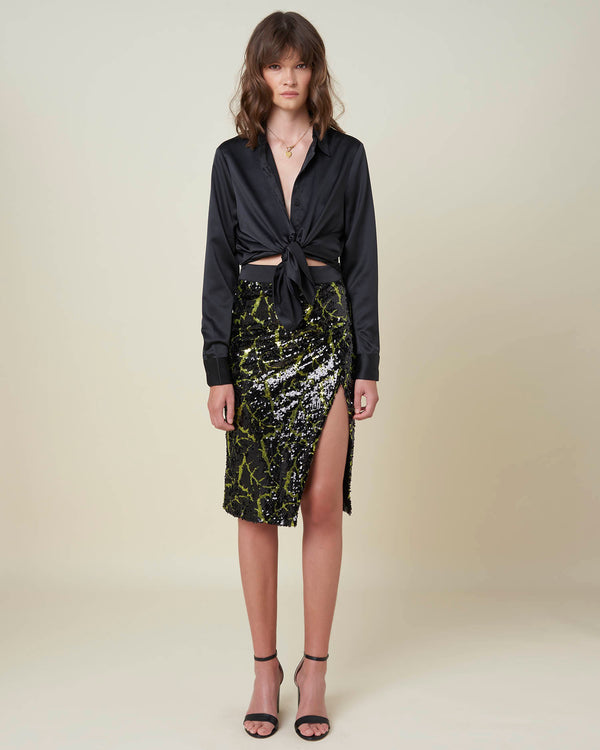 Longuette skirt with sequins