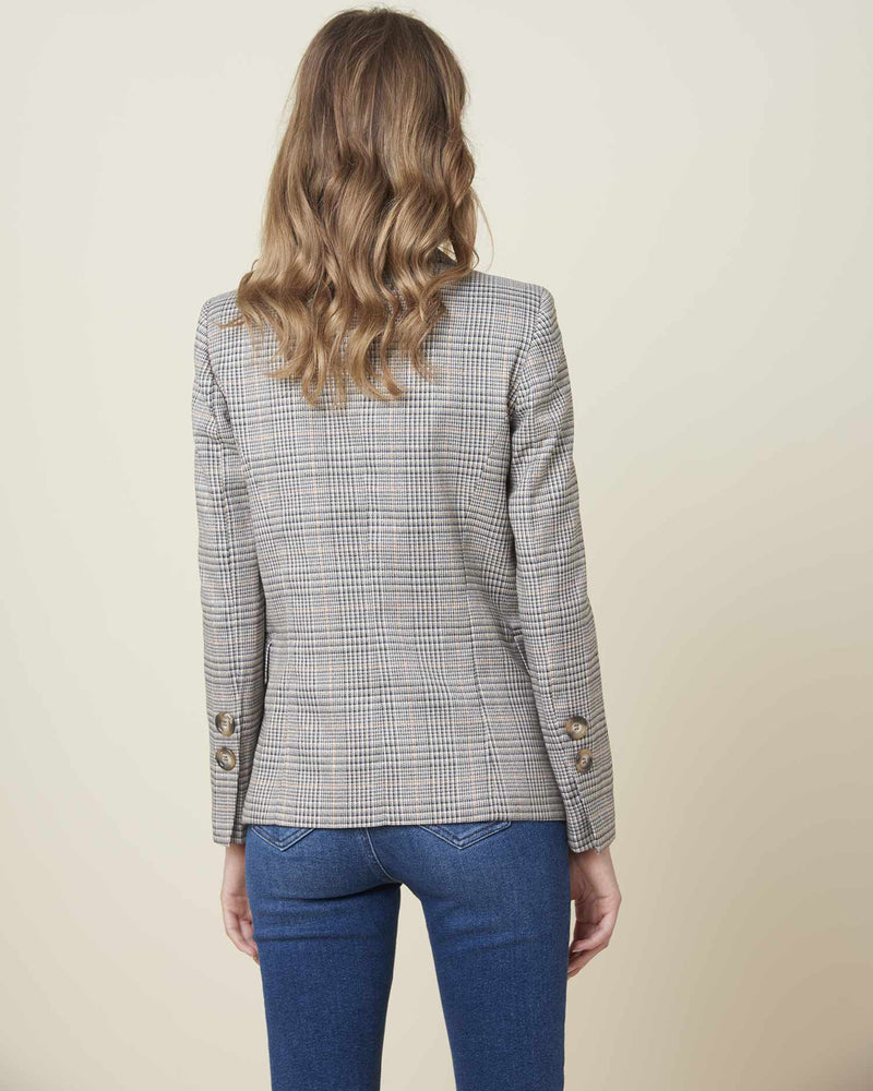 Double-breasted jacket with check pattern