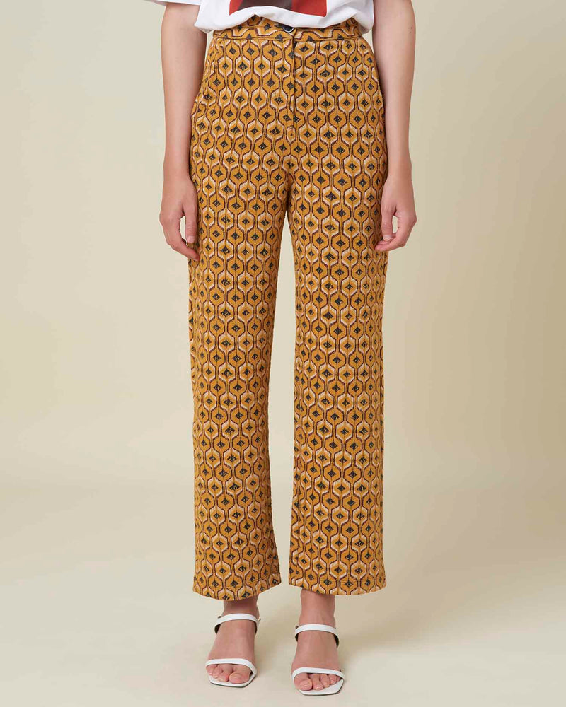Cropped trousers with embroidered pattern