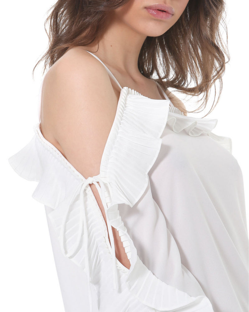Blouse with pleated valance TAKENGON