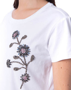 T-shirt flowers in strass MARRAKECH